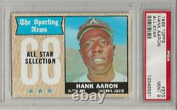 1968 Topps #370 Hank Aaron, Psa 9 Mint, Set Break- All-star, Hof, Atlanta Braves