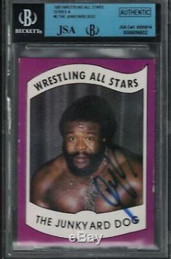 1982 Wrestling All Stars Card JUNKYARD DOG Wrestler AUTOGRAPHED JSA Authentic