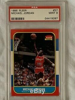 1986 Fleer Basketball ALL PSA 9 MINT (NQ) Complete Set NM-MNT Michael Jordan