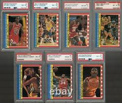 1987 FLEER BASKETBALL COMPLETE STICKER SET (1-11) with#2 JORDAN 2nd YR ALL PSA 8