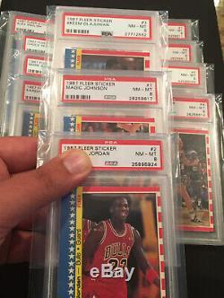 1987 FLEER BASKETBALL COMPLETE STICKER SET All Psa 8 (1-11) Jordan Barkley Magic