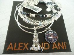 Alex And Ani ALL THAT GLITTERS Set Of 5 Shiny Silver Bangles New WithTag Card Box