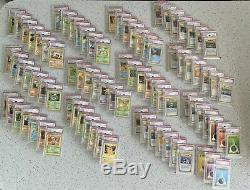 Base Set Shadowless Non Holo Set 17-102 Both Pikachu 87 Cards all PSA 9 Mint