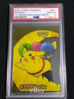 PSA 10 SET OF ALL 10 Pokemon Topps Clear Insert Cards (Charizard, Pikachu, etc.)