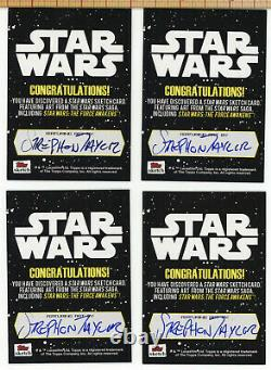 Star Wars Force Awakens Sketch Card Ewok Set of 4 All Actor Autographed Strephon