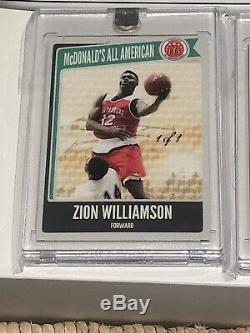 Zion Williamson One Of One 1/1 McDonalds All American Set (3) Cards Green Set